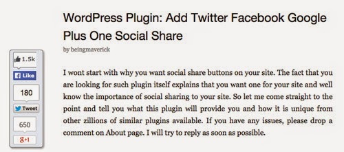 Add Twitter, Facebook Like, Google plus one Social share