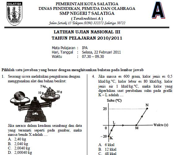 Soal Latihan Ujian Nasional III IPA SMP 2010/2011