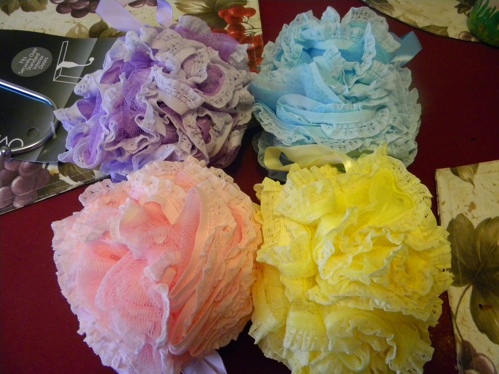Rottiesreviewz Xl Lace Mesh Shower Poufs From Shower Bouquet