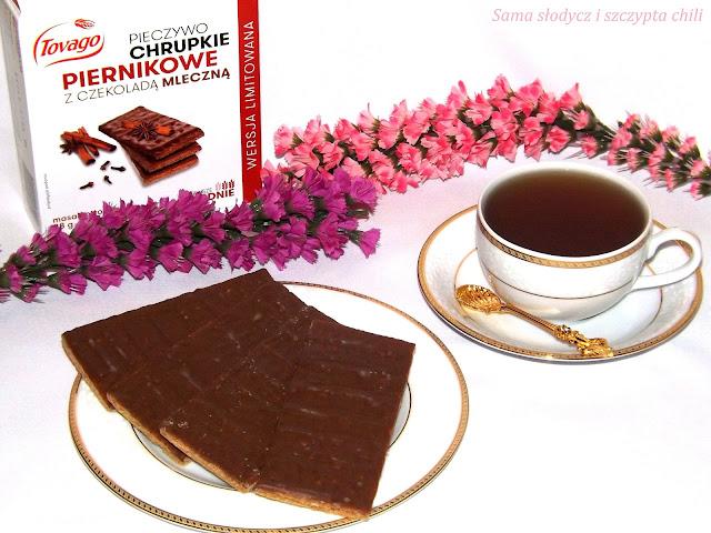 Chrupka , piernikowa przekąska oblana mleczną czekoladą z firmy  Tovago .