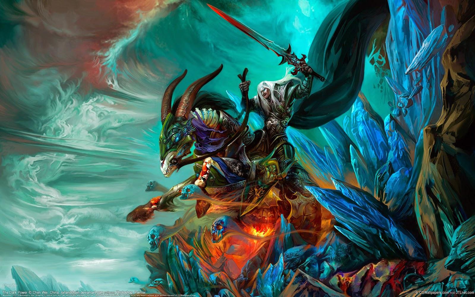 monster dragon digital cg art wallpaper by chen wei