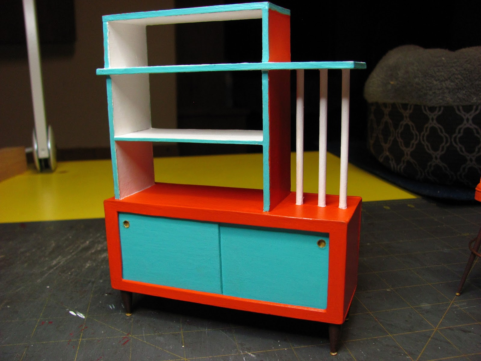MID CENTURY 1 INCH SCALE ROOM DIVIDER/BOOKSHELF TUTORIAL   How To Make A 1  Inch Scale Mid Century Room Divider For Your Dollhouse.