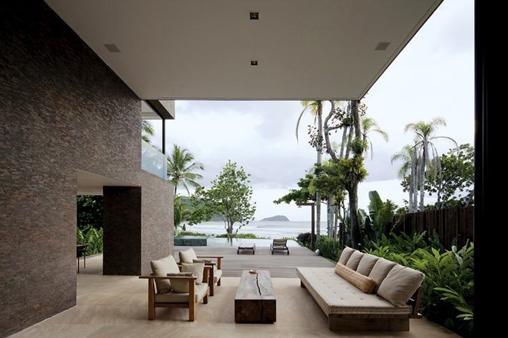 Terrace view in Modern beach house in Brazil