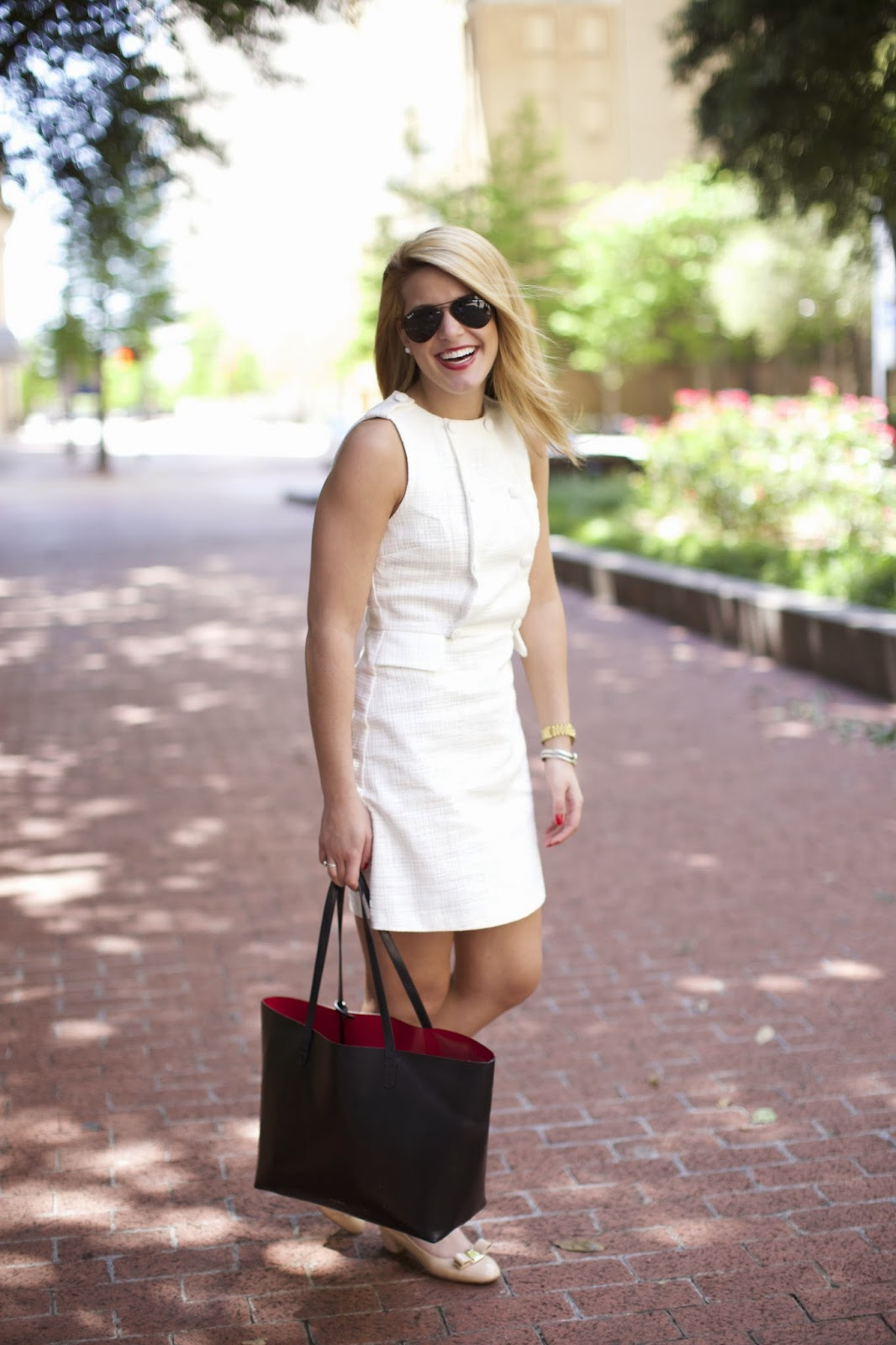 Little White dress and mansur gavriel tote