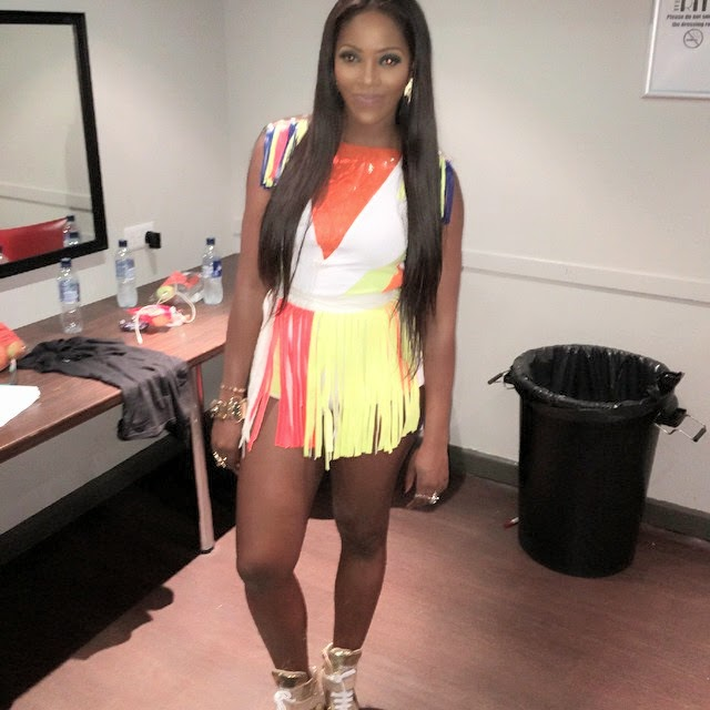 Check Out Tiwa Savage's Colourful Outfit For Her Manchester Performance