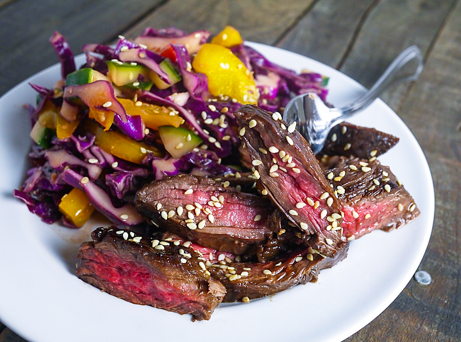 Barbells and Bellinis: Spicy Skirt Steak with Asian Slaw