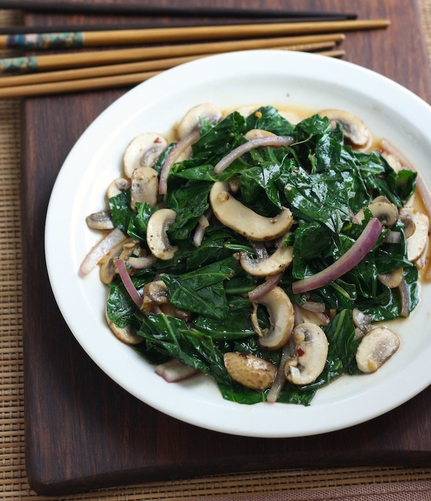 Stir-Fried Collard Greens with Mushrooms recipe by SeasonWithSpice.com
