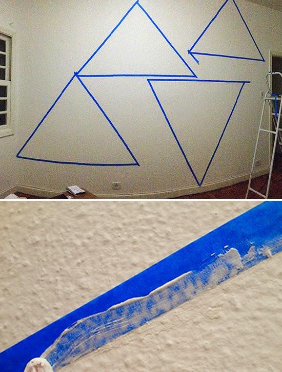 desenho geometrico na parede