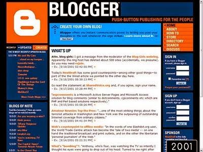 2001 yılında blogger
