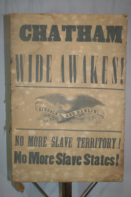 Wide Awakes sign, civil war artifacts, Lincoln presidential campaign, restoration, conservation.