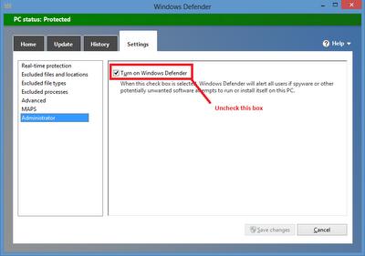 Windows 8 - turn off Defender