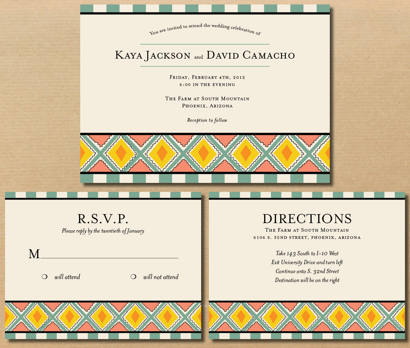 river & bridge: native-american influenced wedding invitations