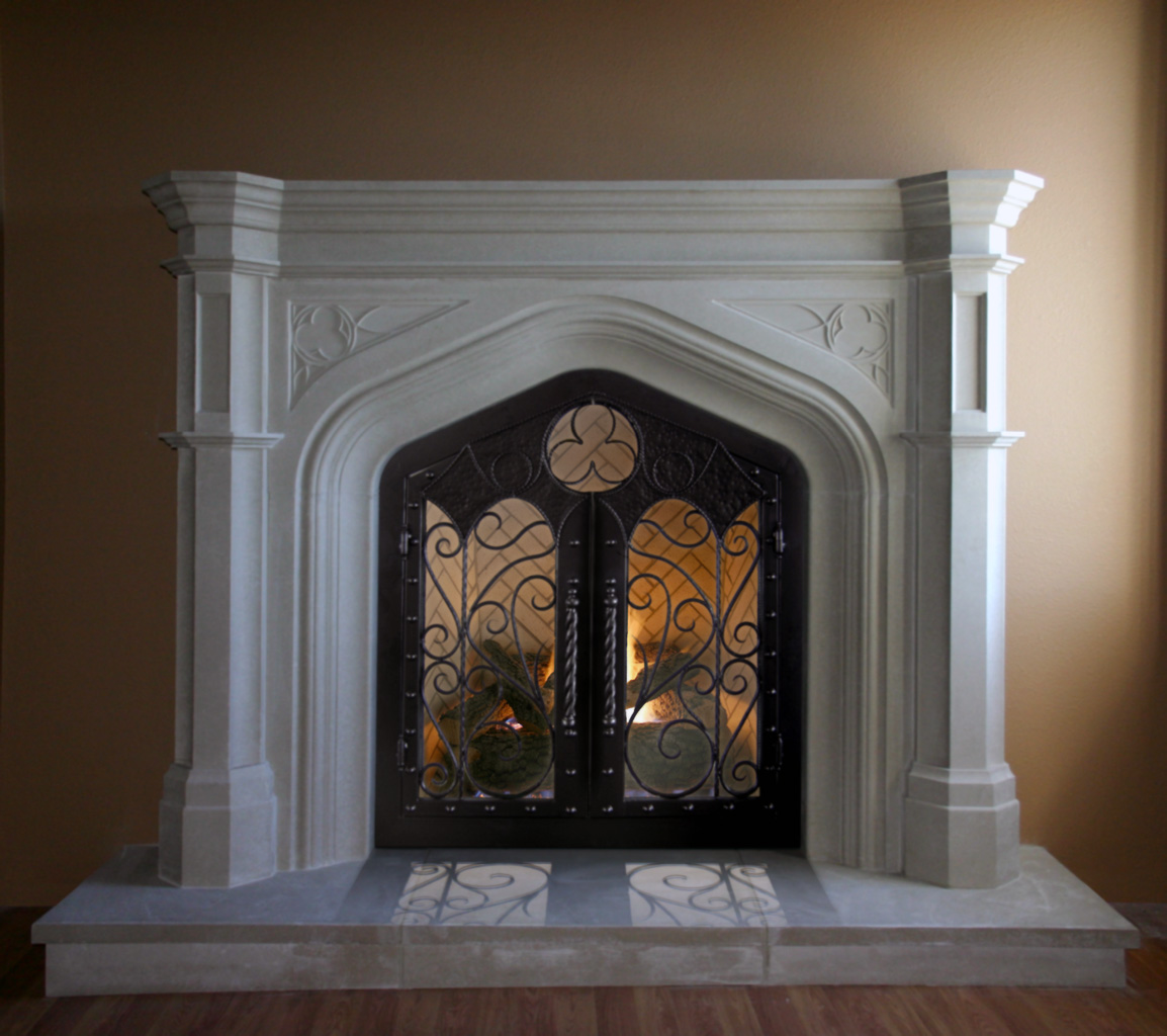Custom Iron Doors For Our Custom Mantels Traditional Tudor Stone Mantle Distinctive Mantel