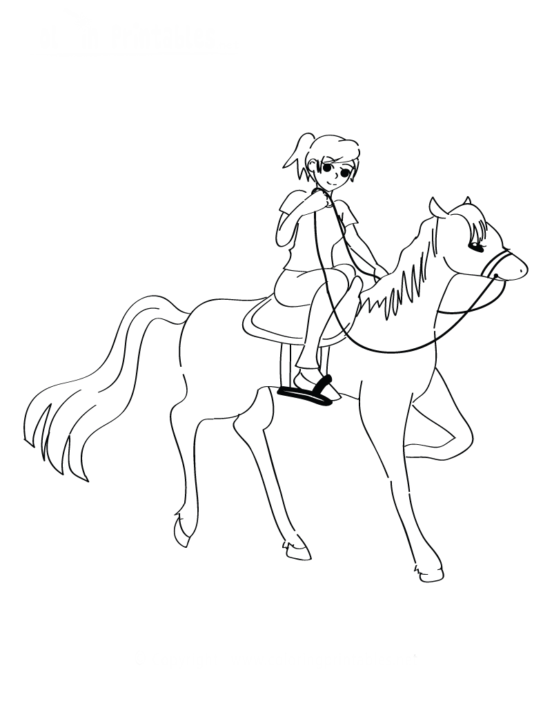 Pretty Coloring Pages Girl Riding Horse Gallery  Example Resume