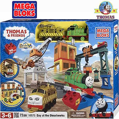Fun assembly brick block 72 piece Sodor toy Thomas and friends Day at the Dieselworks Mega Bloks set