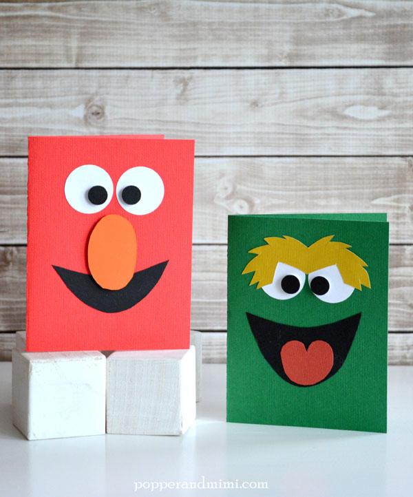 Handmade Elmo and Oscar the Grouch Cards