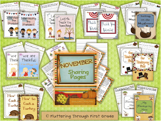 http://www.teacherspayteachers.com/Product/November-Writing-Pages-for-Class-Share-Time-297784
