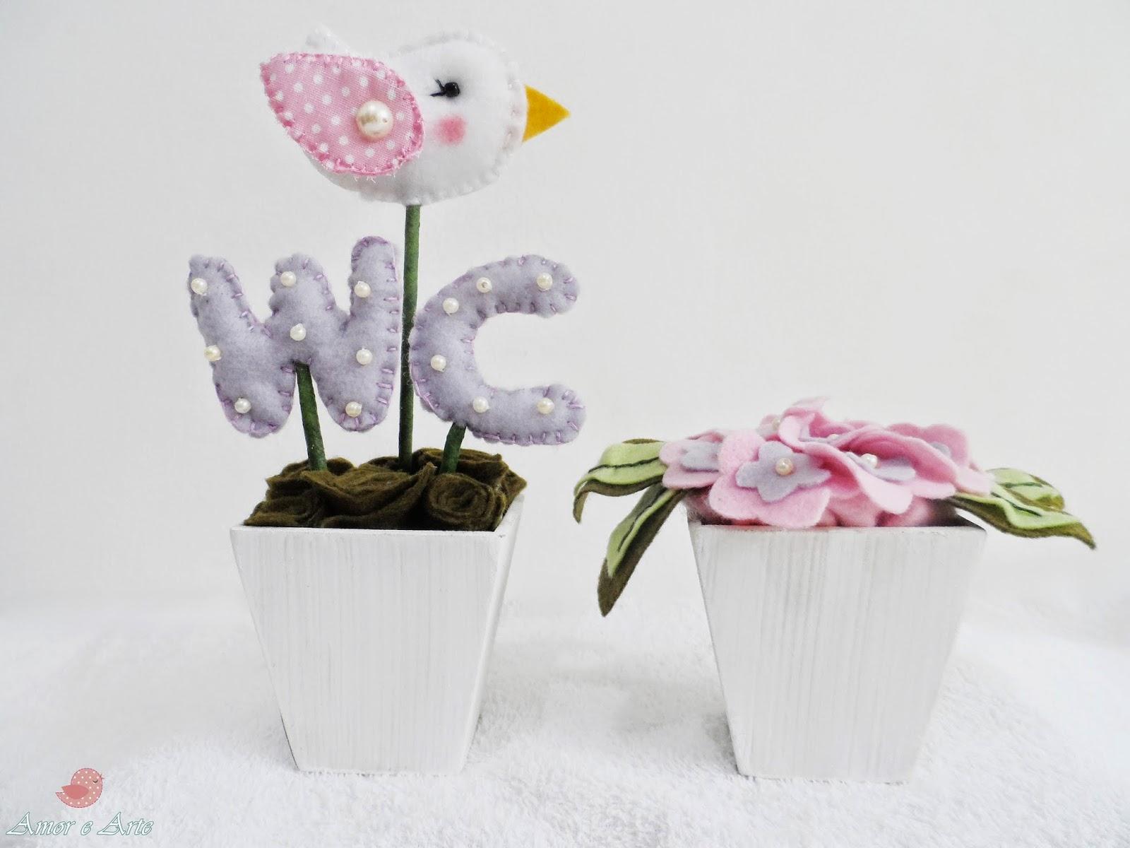 Kit vasinhos para WC - hortênsias e passarinho em feltro