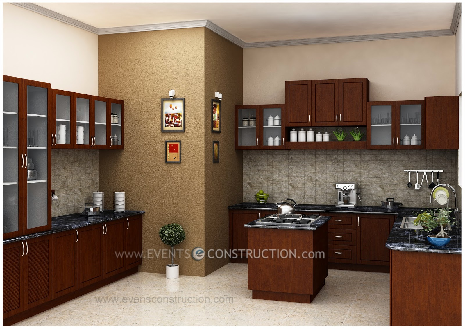 Kitchen island modern for New kitchen designs in kerala
