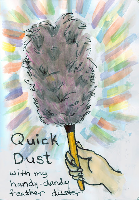 Dusting with a feather duster, Watercolour with Ink by Ana Tirolese ©2012
