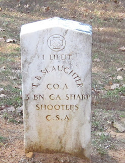 Gravestone of Lt. T. B. Slaughter, CSA