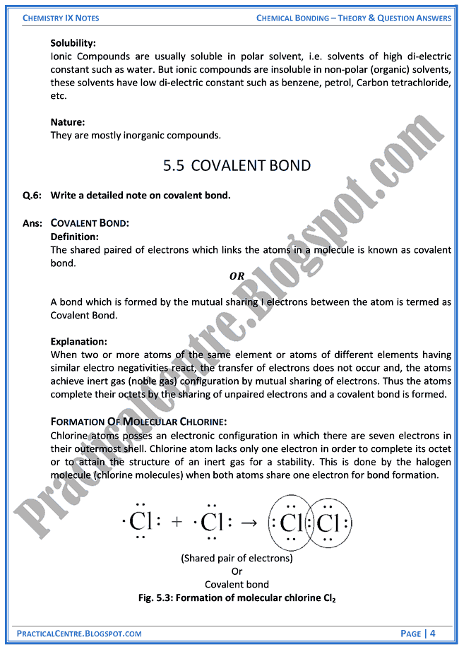 chemical-bonding-theory-and-question-answers-chemistry-ix