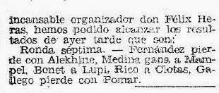 Recorte de El Mundo Deportivo sobre el II Torneo Internacional de Ajedrez Gijón 1945, 20 de julio de 1945 (3)
