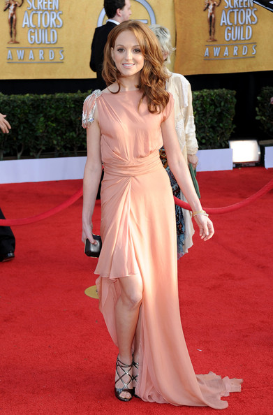 'Glee' actress, Jayma Mays in a peach chiffon Jenny Packham gown, metallic strappy Jimmy Choo sandals, a dark jeweled Daniel Swarovski clutch and Neil Lane jewellery at the 17th Annual Screen Actors Guild Awards held at The Shrine Auditorium on January 30, 2011 in Los Angeles, California.
