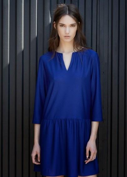 Mango 2015 Elbise Modelleri  saten elbise, mavi renk kısa günlük mdel