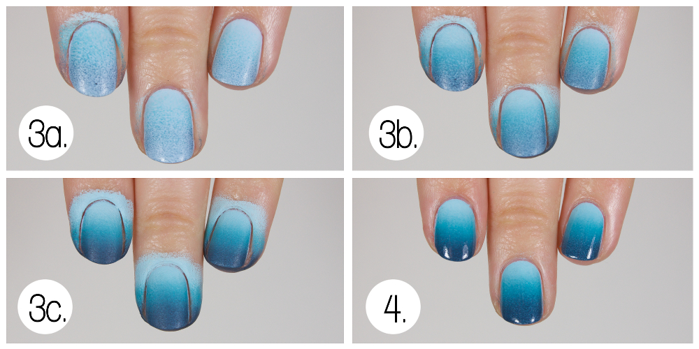 Wondrously polished tutorial underwater city nail art inspired apply the painted makeup sponge to your nail to create a gradient up and down each nail darkest color near the tips of your nails prinsesfo Images