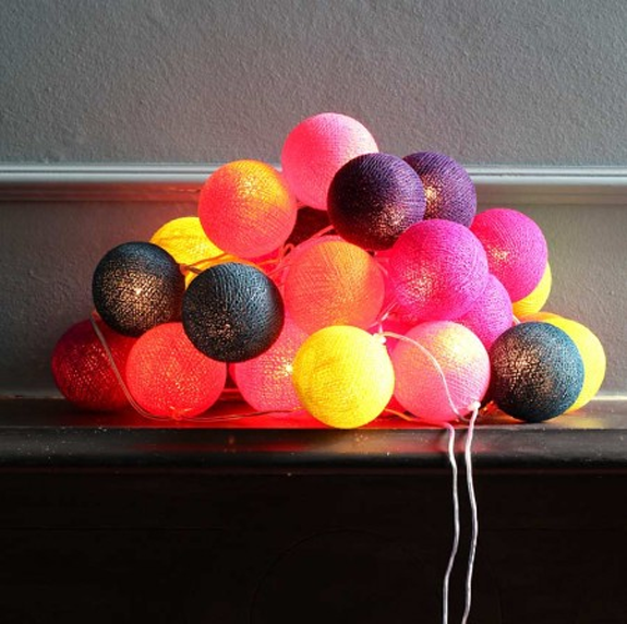 the pink chalkboard cotton ball string lights. Black Bedroom Furniture Sets. Home Design Ideas