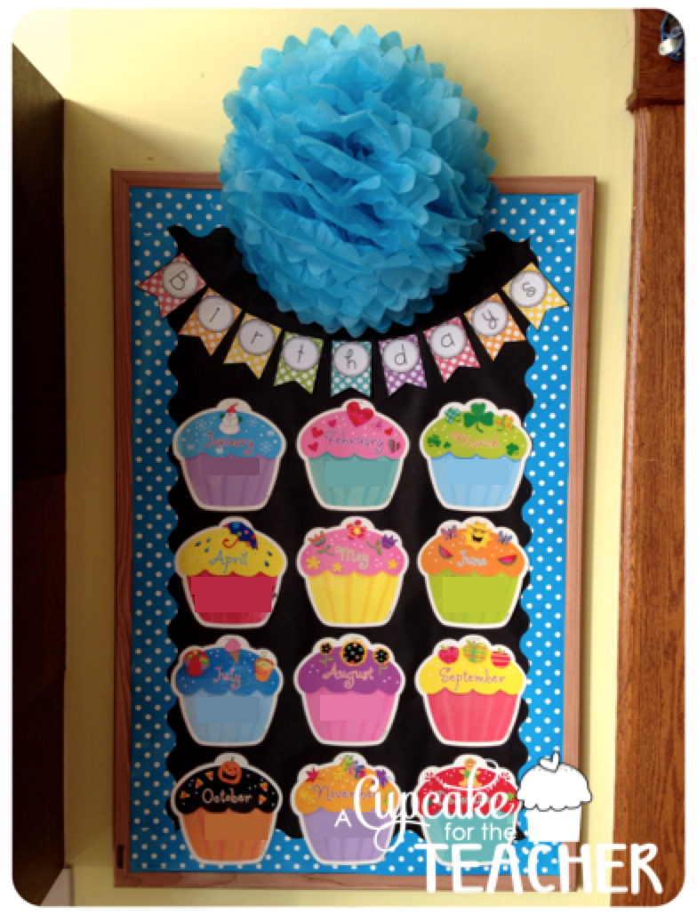 Classroom Birthday Ideas ~ Classroom reveal a cupcake for the teacher