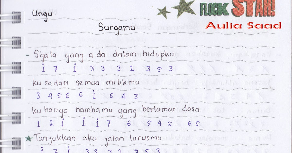 "catatan not lagu - ungu ""surgamu"" (piano/pianika pemula)   aulia's ..."