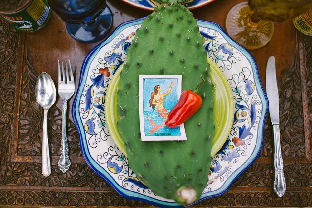 cactus leaf mexican loteria card chile pepper