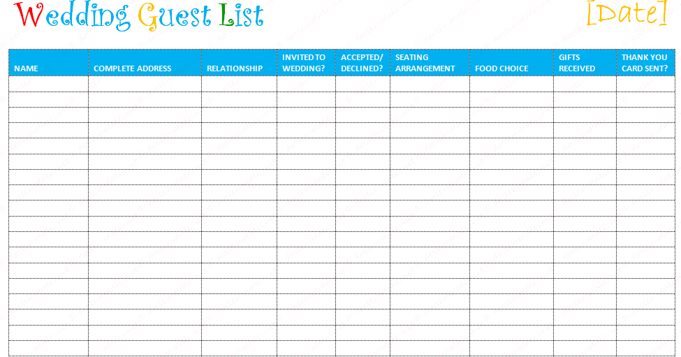 Document Templates FREE PRINTABLE WEDDING GUEST LIST TEMPLATE – Free Wedding Guest List Template