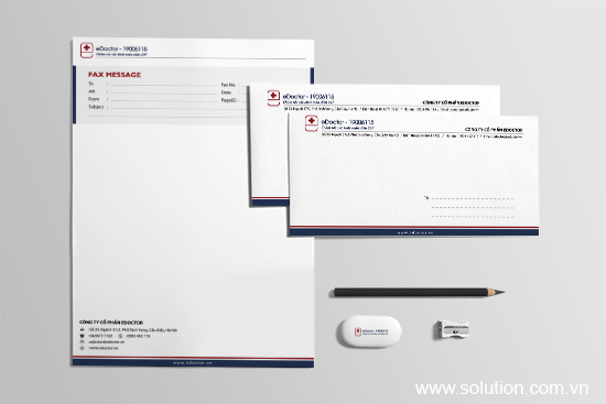 Thiết kế tờ fax - Bộ nhận diện thương hiệu eDoctor