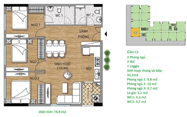 Căn hộ C3 tầng 74,9 m2 tầng 3-6 chung cư Valencia Garden