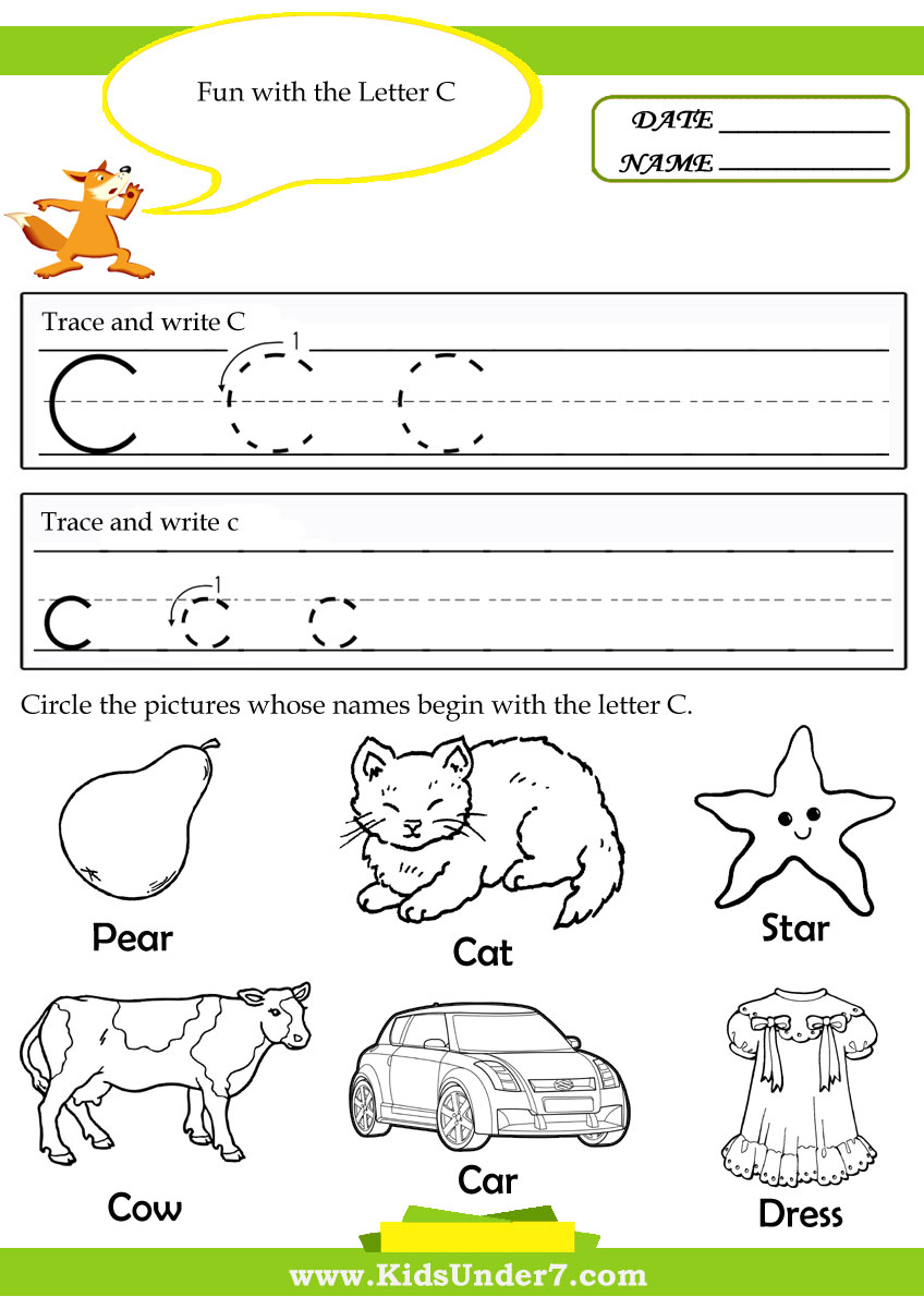 Kids Under 7 Alphabet – Letter C Worksheets for Preschool