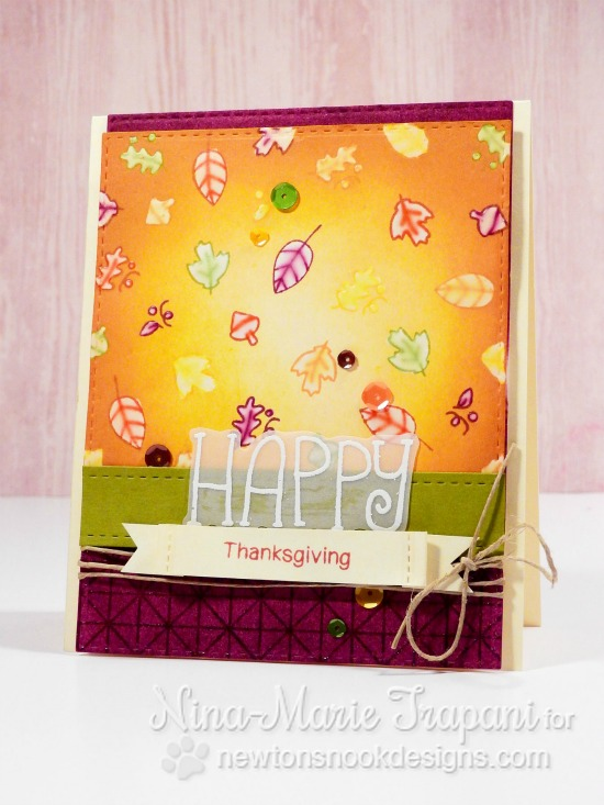 Happy Thanksgiving Card by Nina-Marie Trapani | Simply Seasonal Stamp set by Newton's Nook Designs #newtonsnook