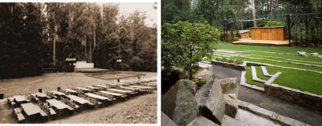 Stern Grove Amphitheater before the Halprin renovation (left) and in 2005 (right) Courtesy of the Stern Grove Festival Association