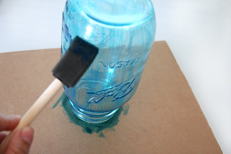 Colored mason jar tutorial julie ann art for How to stain glass jars with paint