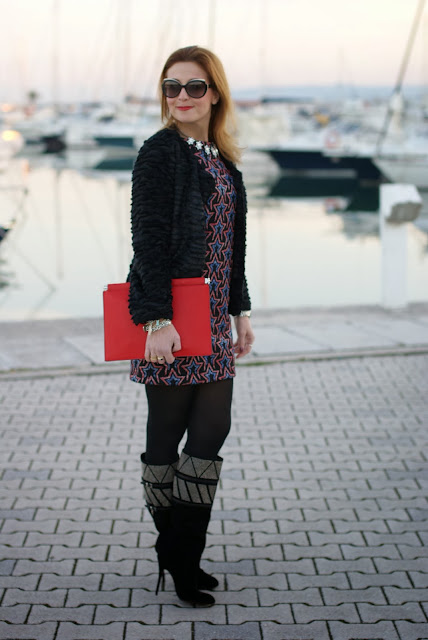 starry print dress, fake fur jacket, paciotti studded boots, Fashion and Cookies, fashion blogger