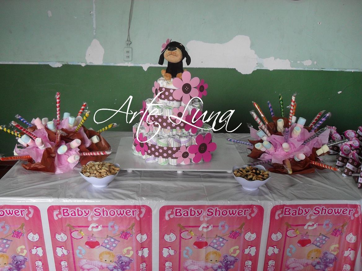 Arte luna decoracion baby shower en rosa y cafe - Decoracion baby shower nina sencillo ...