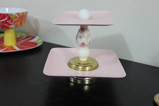 Recycled crafts:  cupcake stand:  pink with brass and ceramic