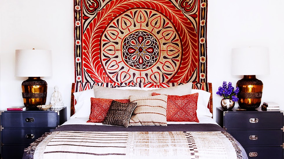 alternative headboard hang tapestry or rug