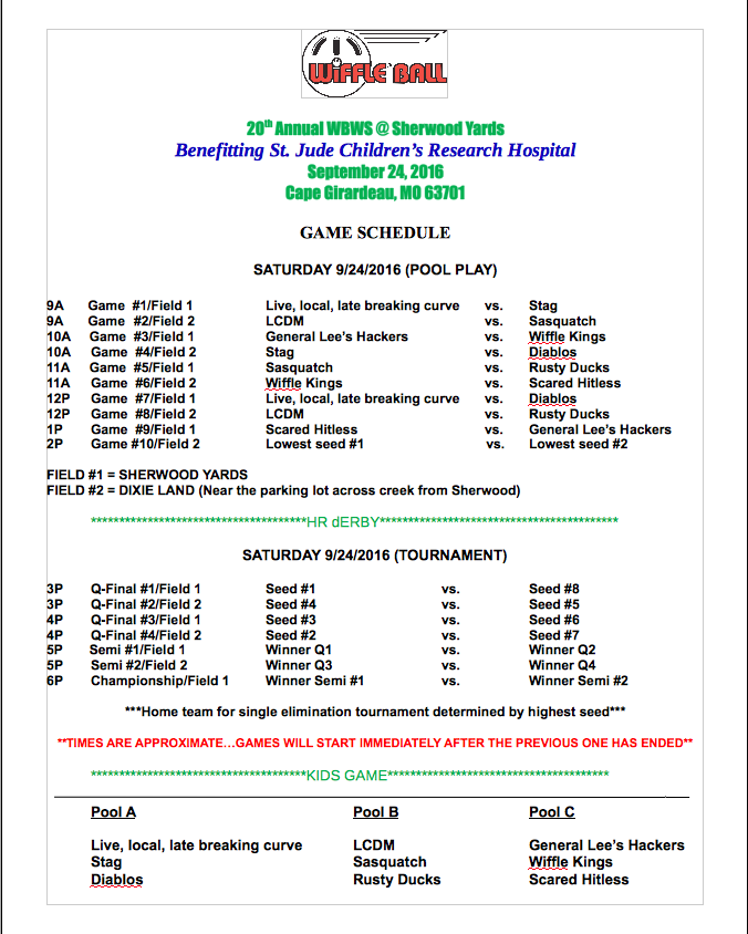 20th WBWS Schedule