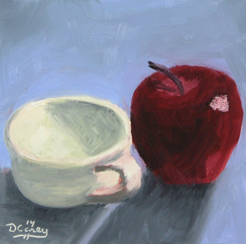 141127 - Kitchen Painting - Cup and Apple 001b 6x6 oil on gessobord - Dave Casey - TheDailyPainter.jpg