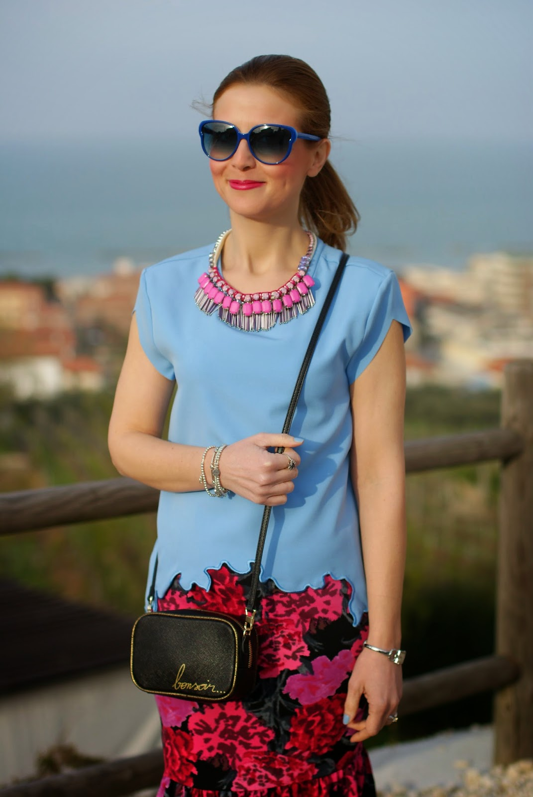 Zara azure blouse, Sodini bijoux pink necklace, zara bonsoir bag, dimples with smile, Fashion and Cookies, fashion blogger