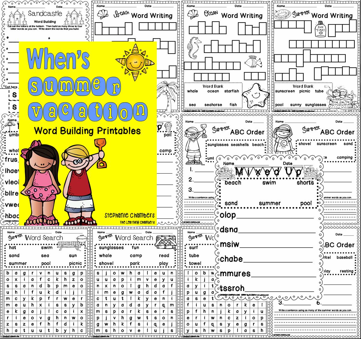 http://www.teacherspayteachers.com/Product/Whens-Summer-Vacation-Word-Work-Printables-692340