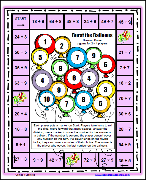 Division » Printable Division Games - Free Math Worksheets ...